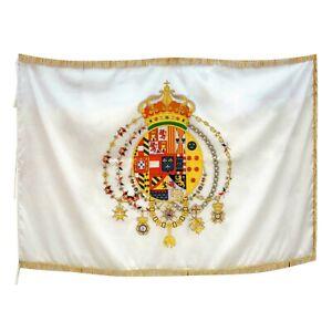 Bandiera Regno delle Due Sicilie borbonica poli pesante cm 100x150 con frangia