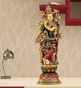 Hindu God Lord Krishna Brass Idol Sculpture Statue Figurine for Home Decor Pooja