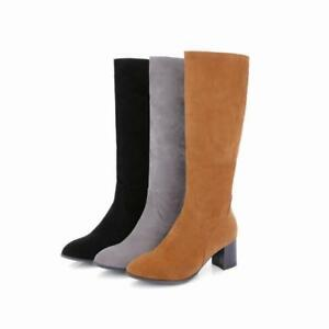 Vintage Western Suede Pointed Toe Chunky Heel Side Zipper Shoes Knee High Boots