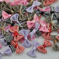 30pcs Small Gingham Ribbon Bows Flower Craft Appliques Lots UPick E236