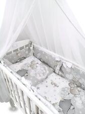 Wiegenset (6-teilig) Baumwolle Babybettwäsche Nestchen Chiffonhimmel Elefanten