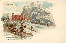 SWITZERLAND GRINDELWALD WINTERSPORT - HOTEL BAER - UNDIVIDED BACK LITHO POSTCARD