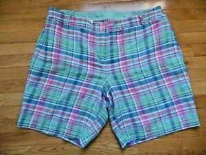 Talbots Woman Plus 22W Perfect Shorts Teal Plaid Cotton Linen Blend ElasticWaist