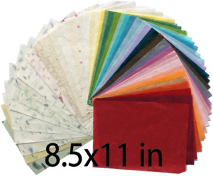MulberryPaperStock 65 Hand Made Tissue Mulberry Paper Sheets Natural Fiber 8.5 x