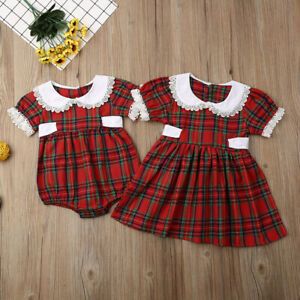 Xmas Toddler Baby Girl Christmas Romper Dress Bodysuit Plaid Outfit Clothes