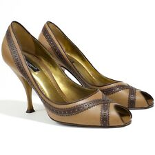 Dolce & Gabbana - Sz 40 - Brown Leather Peep Toe Pumps - Made In Italy