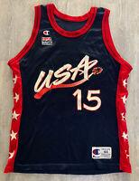 Vintage 90s USA Basketball  #15 Hakeem Olajuwon Champion Jersey Sz 44 NBA
