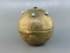 Victorian Jeweled Brass Travel Inkwell Orb or Ball style