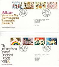 1981 Folklore to Christmas First Day Cover Year Set of all 8 Covers
