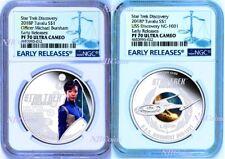 2-COIN Set 2018 Star Trek DISCOVERY USS NCC-1031 Burnham Silver $1 NGC PF70 ER