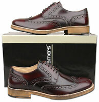Mens New Lace Up Oxblood Leather Formal Brogues Shoes Sizes 6 7 8 9 10 11 12