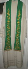 NEW-Paddle Style-Preaching Stole-Green-Embroidered Gold Cross & Flowers-Priest