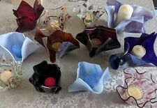 VARIOUS HANDMADE MELTED GLASS CANDLE HOLDERS