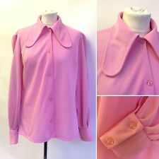 Vintage 1960s Pink Round Collar Blouse HUGE COLLAR!! Size 14 16 Balloon sleeve