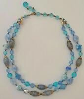 Vintage Venetian Murano Art Glass Bead Double Strand Necklace Blues Copper Dust