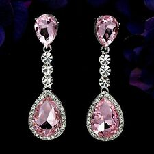 Rhodium Plated Pale Pink Crystal Chandelier Drop Dangle Earrings 08362 New