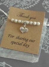 Wedding Heart Charm Thank You Gift Bracelet Bridesmaid Flower Girl  gift card