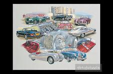 Jaguar Car Art Print  XK150 XJ6 S1 XK150 Mk2 XK120 XJ-SC D-type C-Type E-Type S1