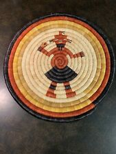 "Beautiful Hopi Basket Weave Kachina Wall Hanging - 10 1/4"" Diameter"