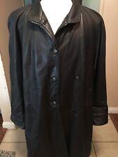 Women Plantation Genuine Leather Oversize Long Trench Coat Jacket sz M by Paskin