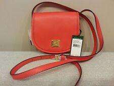 NWT Lauren Ralph Lauren Winchester Crossbody Handbag Leather Punch Red $128