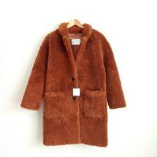 NWT Zara Teddy Faux Fur Coat Size XS Women's Sherpa Jacket Rust/Brown Long
