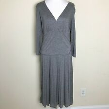 Boden Dress 16L Double Layer Jersey Gray 16 Tall WH148 Cross V-Neck Midi
