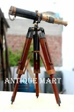 Nautical Antique Vintage Brass Pirate Spyglass Table Top Telescope W/Wood Tripod