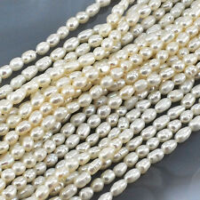 """4x3mm Natural White Freshwater Pearl Rice Beads 14"""" (PE169)a"""