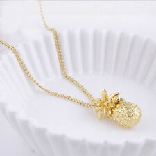 Summer Tiny Pineapple Cute Fruit Charm Gold Plate Long Chain Necklace Jewelry AS