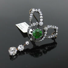 Antique 3.16ct Old Mine Cut Diamond & 2.11ct Demantoid Garnet Silver & Gold Pin