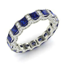 Real 14K White Gold 3.88Ct Natural Diamond Blue Sapphire Gemstone Ring Size O,N