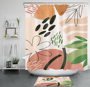 Abstract Flower Green Leaves Minimalist Art Shower Curtain Set Bathroom Decor
