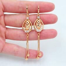 18K Yellow Gold Filled Women Clear Topaz Water Drop Long Tassel Earrings Jewelry