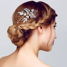 Jewelry Handmade Flower Head Clip Bridal Headpiece Crystal Hair Comb Hairwear