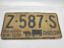 Antique Vintage Vehicle License Plate OHIO 150 Aniver. NW TERR 1938 Z-587-S #2