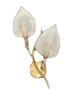 """Rare Vintage Murano Art Glass Leaf Form Wall Sconce Brass White 28"""" Franco Luce"""