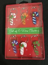 Candy Cane Christmas Wine Charms Set 6 Nib Mixed Colors - Know Your Wine Glass!