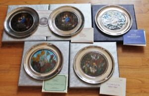 VTG U.S.HISTORICAL SOCIETY JEFFERSON PEWTER STAINED GLASS PLATE - CHOICE-COA-MIB