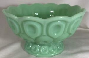 Bowl - Moon & Star Pattern - Jade Jadeite Jadite Green Glass - USA