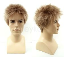 Dark Blonde Short Spiky Style Mens Wig Synthetic Costume Fashion Hair