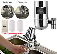 Faucet Water Filter Kitchen Mount Filtration Tap Purifier + Replacement Filter