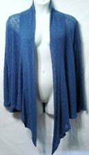 CABLE & GAUGE WOMAN PLUS 2X 22/24 BLUE OPEN FRONT FLY AWAY CASCADE SWEATER L/S