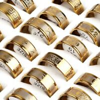 100/50pcs Wholesale Lots Mix Stainless Steel Ring Womens Men's Jewelry Gold Band