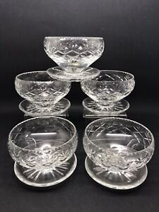 5 Vintage Cut Glass Sundae Dishes Unknown Maker (Or313)