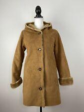 GAP Long Hooded Shearling Faux Fur Coat Jacket Camel Kid Sz XXL Women XS