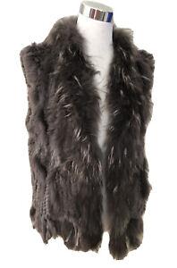OAKWOOD Rabbit Racoon Fur Vest. Size 4 US. GUC $550