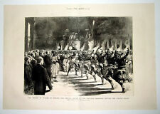 Prince Of Wales In Ceylon Devil's Dance At Perehara Kandy 1876 Double Page Print