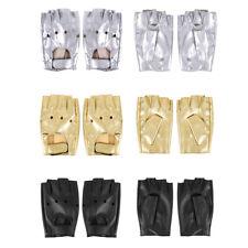 Men Short Faux Leather Gloves Fingerless Half Finger Mittens Hiking Car Driving