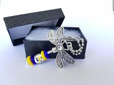 Down Syndrome Awareness Dragonfly Car Charm Blue Yellow Ribbon Silver GIFT BOX